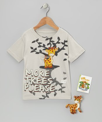 Silver Gyro Giraffe Finger Puppet Tee Set - Toddler & Boys