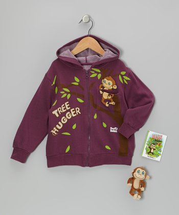 Eggplant Majik Monkey Zip-Up Hoodie Set - Toddler & Girls