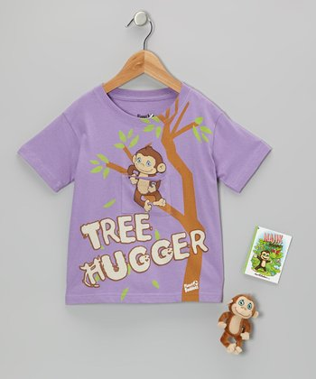 Lavender Majik Monkey Finger Puppet Tee Set - Toddler & Girls