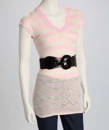 Pink & White Stripe Tunic & Belt