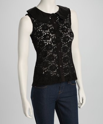 Black Lace Button-Up Sleeveless Top