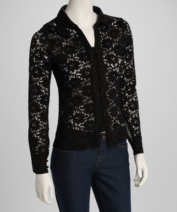 Black Lace Button-Up Top