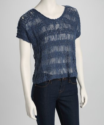 Blue Stripe Open-Weave Knit Top