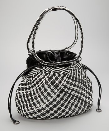 Black & White Woven Drawstring Hobo