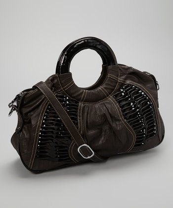 Brown Textured Satchel
