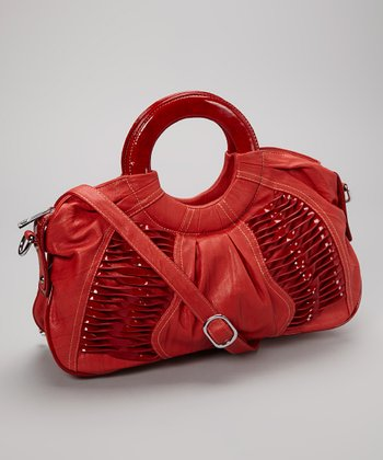 Red Textured Satchel