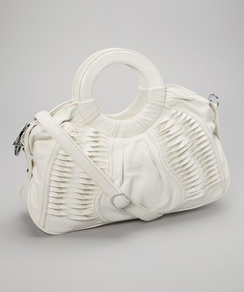 White Textured Satchel