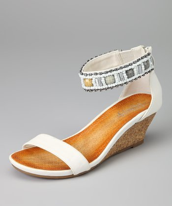 White Ginny-04 Wedge Sandal
