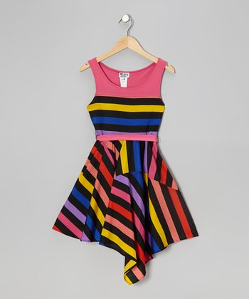 Blue & Berry Bow Stripe Dress