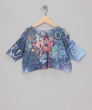 Denim Butterfly Star Crop Top