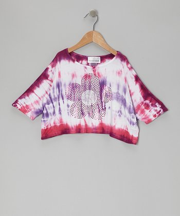 Purple & Fuchsia Tie-Dye Daisy Crop Top