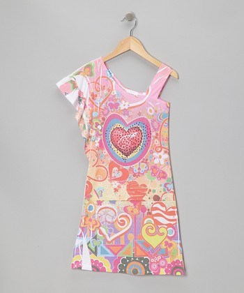 Pink Heart Asymmetrical Dress