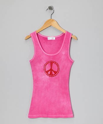 Hot Pink Rhinestone Peace Tank