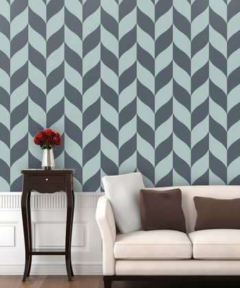 Slate Blue Classic Chevron Wallpaper Decal