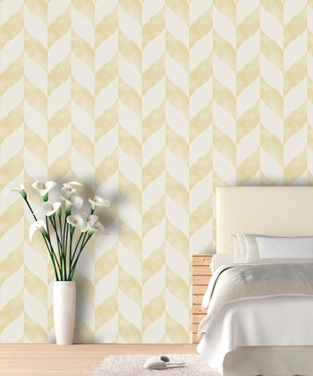 Parisian Daisy Distressed Chevron Wallpaper Decal