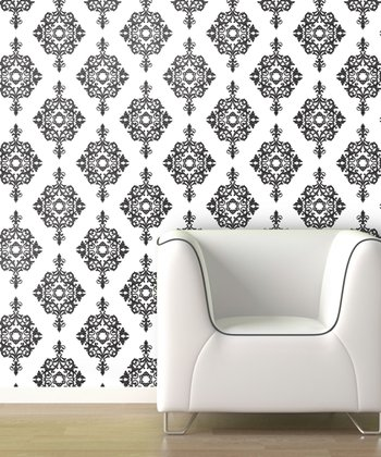 Black Diamond Damask Wallpaper Decal
