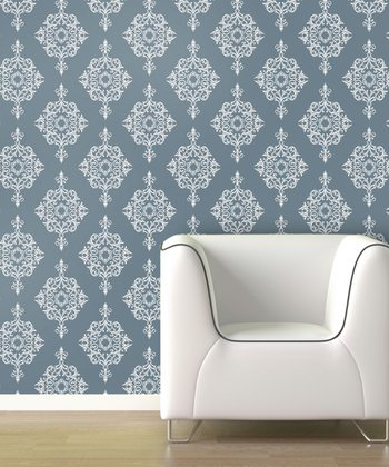 Blue Fog Diamond Damask Wallpaper Decal