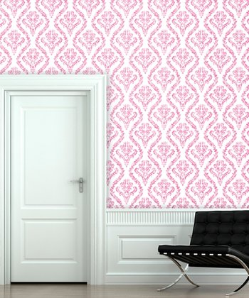 Hot Fuchsia Distressed Damask Wallpaper Decal