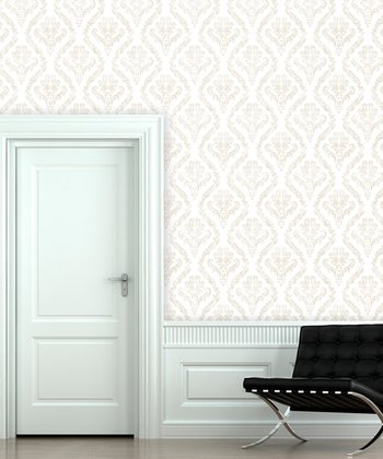 Vanilla Bisque Distressed Damask Wallpaper Decal