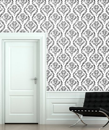 White Knight Distressed Damask Wallpaper Decal