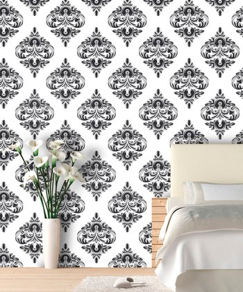 Gray Scale Damask Wallpaper Decal