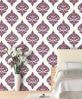 Ripe Plum Damask Wallpaper Decal