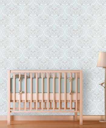 Baby Blue Floral Damask Wallpaper Decal