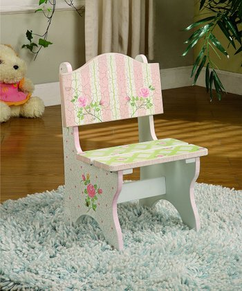 Pink Lace & Crackled Rose Mini Chair