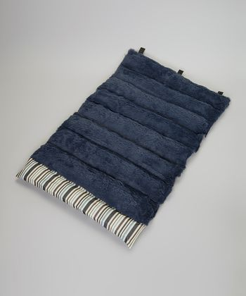 Blue & Brown Stripe Roll-Away Pet Bed