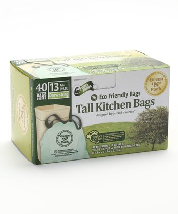 Eco-Friendly 13-Gal. Tall Kitchen Trash Bag - Set of 40