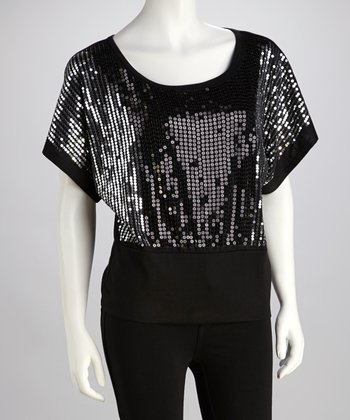 Black Sequin Dolman Top
