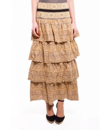 Cream & Brown Lace Tiered Maxi Skirt