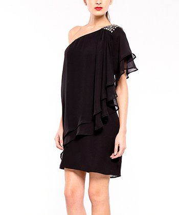 Black Cancun Asymmetrical Tier Dress