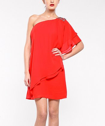 Red Cancun Asymmetrical Tier Dress