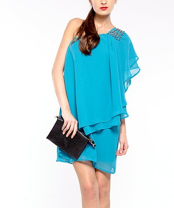 Turquoise Cancun Asymmetrical Tier Dress