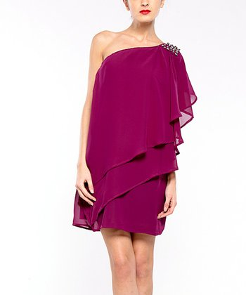 Violet Cancun Asymmetrical Tier Dress