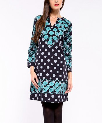Blue Floral & Polka Dot Long-Sleeve Dress