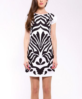 Black & White Frond Puff-Sleeve Dress