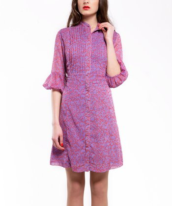 Purple Flourish Button-Up Dress