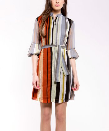 Gray & Yellow Tunica Pepper Shirt Dress