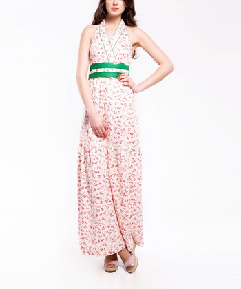 White & Green Floral Halter Maxi Dress - Women