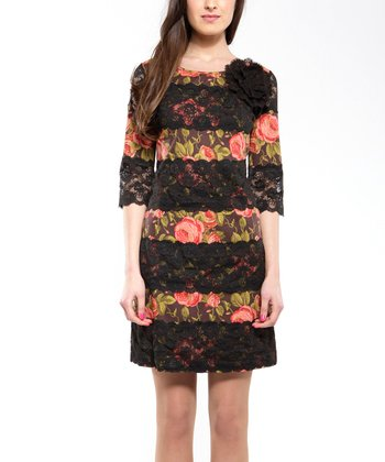 Black Tropical Encaje Dress