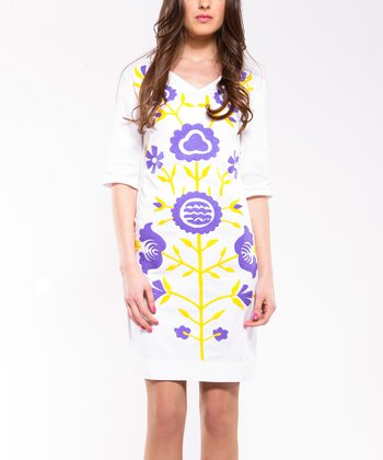 White & Purple Flower V-Neck Dress - Women
