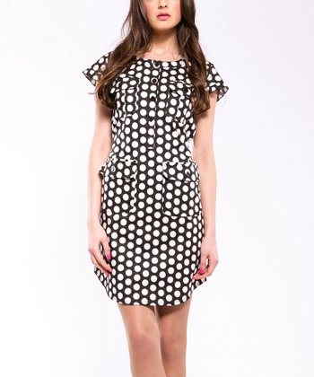 Black Polka Dot Pocket Shirt Dress - Women & Plus