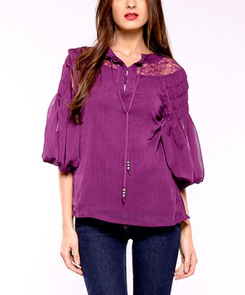 Violet Lace & Chiffon Peasant Top