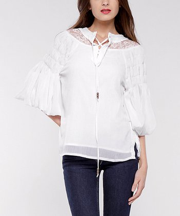 White Lace & Chiffon Peasant Top