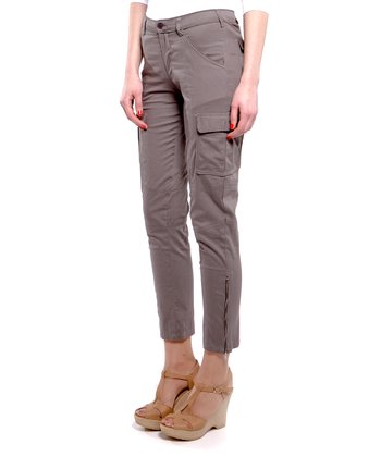 Gray Ankle-Zip Cropped Trousers
