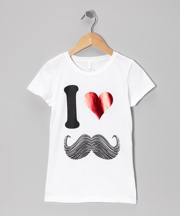 White 'I Love Mustache' Tee - Girls