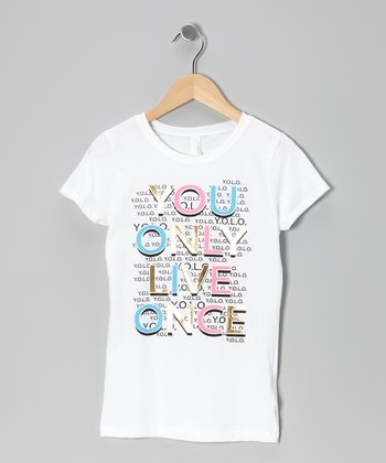 White 'You Only Live Once' Tee - Girls
