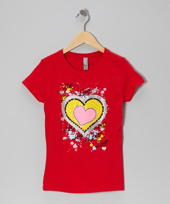 Red Big Heart 'Love' Tee - Girls